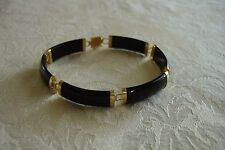 Vintage Asian Chinese Black Onyx 14K Gold Link Bangle Estate Bracelet