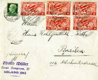 Italy Stamps 1936 Cover with 5 # 355 and # 218 Milan to Switzerland VF
