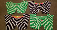LOT 4 Girls MINI BODEN Lounge Comfy Pants Green White Blue Stripe Terry 12Y
