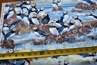 """20"""" Long, Puffin Flock on Ocean Rocks Quilt Fabric/Timeless Treasures/N5268"""