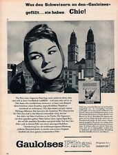 1958 A SWISS AD GAULOISES FILTER CIGARETTE CHIC ELEGANT WOMEN
