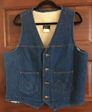 Vintage Maverick Western Jean Sherpa Lined Denim Vest Men's Size Large - L - USA
