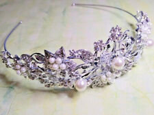 Silver Tone Crystal White Pearl Flower Hairband Tiara Fascinator Prom Wedding