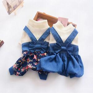 Lovely Dog Jumpsuit Floral Bow Denim Jacket Pet Clothes Puppy Cat Denim Overalls