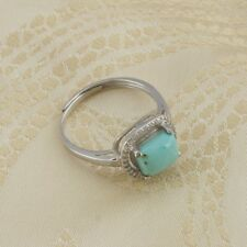 Natural Gemstone 100% Genuine Turquoise Sterling Silver 925 Adjustable Ring