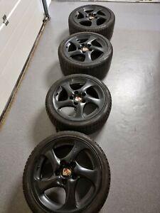 Porsche Turbo Look II Felgen 18 Zoll schwarz, 7,5+10J, 911 996 993 Carrera