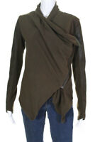 BLANKNYC Womens Asymmetrical Zip Faux Leather Knit Cardigan Green Size Small