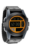 Nixon Watch A489 1323 BAJA Black Blue Steel Neon Org Digital 50 MM Nylon Strap