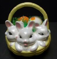 Easter Decor Hand Painted Vintage Ceramic Three Bunnies in Basket Bunny Rabbit