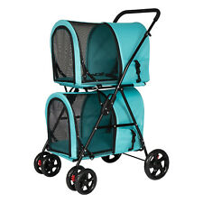 3 in 1 Foldable Pet Stroller Cat Dog Jogger Cart 3 Wheel with Double Decker
