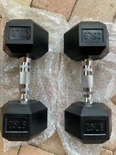 New 25lb Pair Of Rubber Coated Hex Dumbells Weights Total 50 Pounds Ships Today
