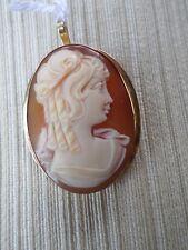 CAMÉE ANCIEN-COQUILLE- profil de femme-broche-Pendentif-or jaune 18K