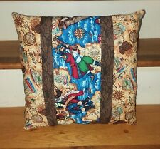 "Pirate Nautical Throw Pillow Approx 15"" x 15"" Pirates Handmade"