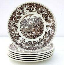Vintage Barratts Elizabethan Brown White Set 6 Side Tea Plates