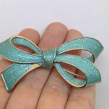 Vintage BOW RIBBON PIN BROOCH Blue Enamel Gold Tone Costume Jewelry