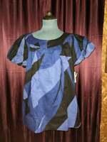NEW A.N.A Blue/Black Cotton Shirt Women L NWT Closet181*