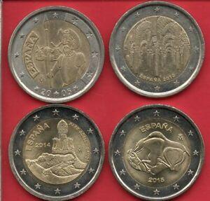 ESPAGNE 4 X 2 EURO commémoratives 2005 - 2010 - 2014 - 2015