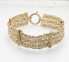 """7"""" Triple Row Byzantine Bracelet with Spring Ring Lock Real 14K Yellow Gold"""