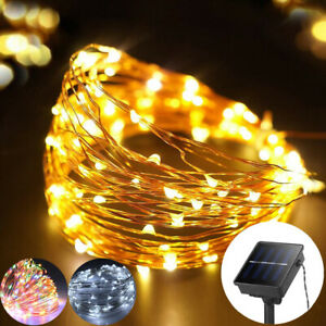10M 20M 200LED Solar String Lights Copper Wire Fairy Outdoor Garden Party UK