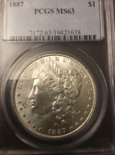 1887 MORGAN SILVER DOLLAR MS 63 PCGS CERTIFIED COIN LOOKS BETTER THAN PICTURE