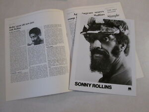 SONNY ROLLINS  PRESS KIT FOR 1976 LP ALBUM THE WAY I FEEL JAZZ TENOR SAXOPHONIST