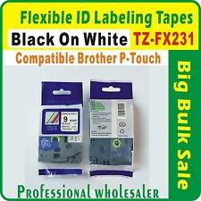 Flexible ID Label Tape Black on White 12mmx8m Brother CompatibleTZ-FX231 P-Touch