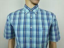 Gant Mens Shirt Portifino Poplin E-Z Fit Blue Tartan Check Size XL RRP £95