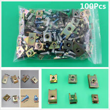 100Pcs Auto Fasteners Car Body Door Panel Trim Fixed Screw U Type Gasket Clips