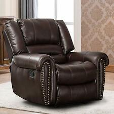 Leather Recliner Chair Traditional Living Room Lounge Sofa Overstuffed Backrest