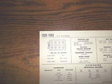 1959 Ford & Thunderbird 352 CI V8 SUN Electric Tune Up Chart Excellent Condition