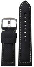 20mm Panatime Black Carbon Fiber Style Watch Band w/White Stitching 125/75 20/18