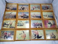 Lot of 16 Vintage Framed Photos of Man & Woman HUNTING FISHING