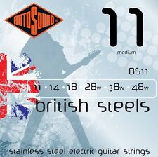 ROTOSOUND BRITISH  BS11 STAINLESS STEEL ELECTRIC GUITAR STRINGS 11-48 2 PACKS