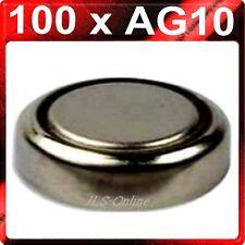 100 X Alcalinas Botón las Pilas Ag10 Lr1130 389 Lr54 10 Tarjetas De 10