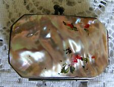 Mother   Of   Pearl   Iridescent   Miniature   Purse   c1920  With  Red Interior