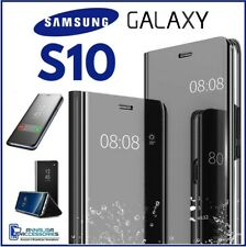 For SAMSUNG GALAXY S10 CLEAR VIEW FLIP CASE SMART BOOK MIRROR LUXURY STAND COVER
