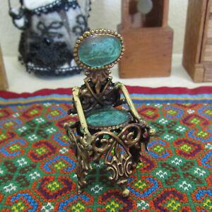 Antique Victorian? Dollhouse Chair Unusual Vtg Green Brass Metal Ornate Bronze?