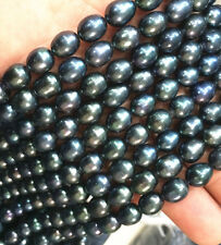 BEAUTIFUL 9-10MM NATURAL SOUTH SEA BAROQUE BLACK PEARL loose beads 14""