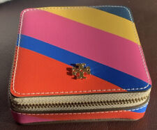 Tory Burch Yellow Blue Red Pink Stripe Emerson Leather Jewelry Case Limited NWT