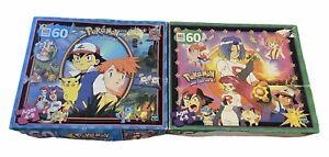 2 Vintage Pokemon 60 Pcs MB Puzzle Gotta Catch 'Em All Hasbro 1999