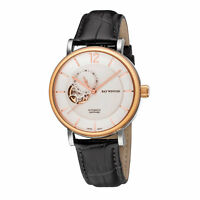 Ray Winton Men's WI0603 Automatic Analog White Dial Black Genuine Leather Watch