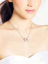 Kate Spade Silver Basket Pave Pendant Necklace LARGE CRYSTAL CLEAR SQUARE STONE