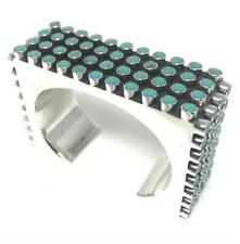 Beaded Bead Cuff Bracelet Mexico Taxco Mexican Sterling 925 Silver Turquoise