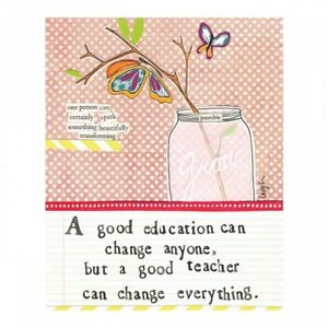 Curly Girl Thank you teacher card A GOOD EDUCATION CAN CHANGE ANYONE New