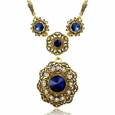 12.95 Ct Sapphire Vintage Blue Round Cut Pendant Necklace 14K Gold Plated 18""