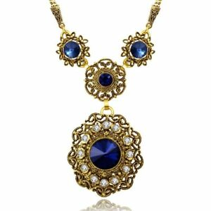 "12.95 Ct Sapphire Vintage Blue Round Cut Pendant Necklace 14K Gold Plated 18"""