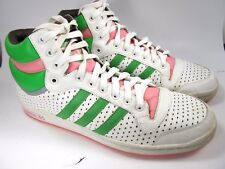 Adidas Basketball High Tops Mens Size 13 White Green Pink Preowned Good 07