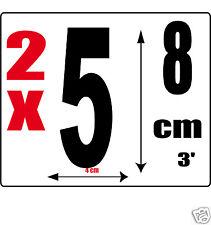 lot 2 Chiffres [5] Sticker autocollant noir hauteur 8cm Lettre en vinyle