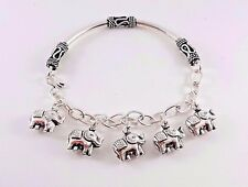 Adorable Artisan Sterling Silver 925 Bangle Cuff Elephant Charm Jewelry Bracelet