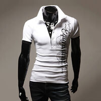Stylish Men Slim Fit Polo Shirts Short Sleeve Summer Casual T-shirts Tee Top New